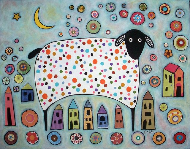 SheepCollage by karlagerard, via Flickr. . This style of illustration is just begging to become embroidery