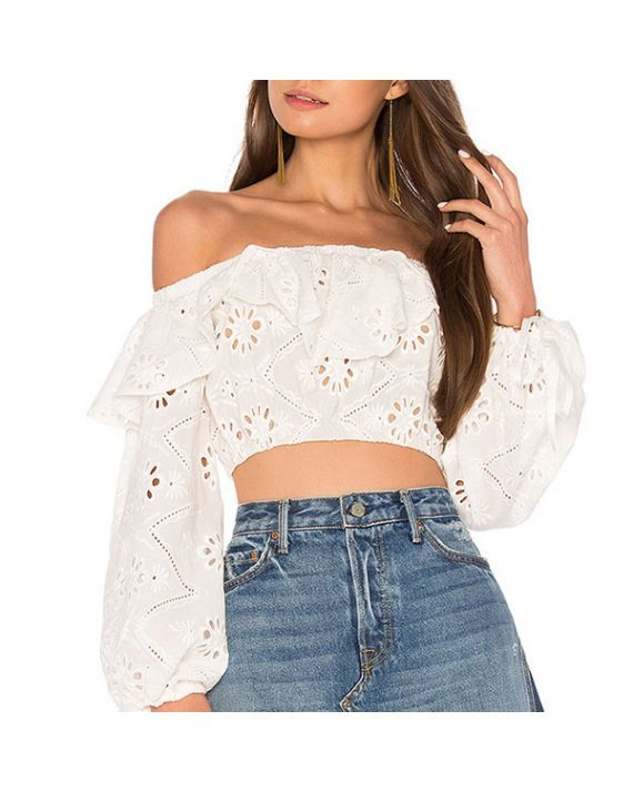 3de17f6a64c8e Skylar Embroidery Off Shoulder Crop Top Compliments float along frequently  when wearing the Skylar Embroidery Off Shoulder Crop Top! White embroidery  and ...