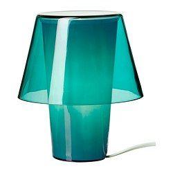 GAVIK table lamp, frosted glass, blue Diameter: 7  Height: 8  Cord length: 73  Diameter: 18 cm Height: 21 cm Cord length: 185 cm