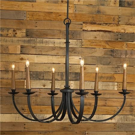 "Hangs from rods (12"",18"", 6""), no chain. 15' of wire. 6 lights (candle base socket) (54.5""Hx43.5""W) 6"" canopy  $699"