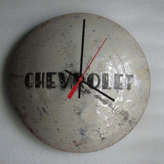 1953 chevy truck hubcap clock