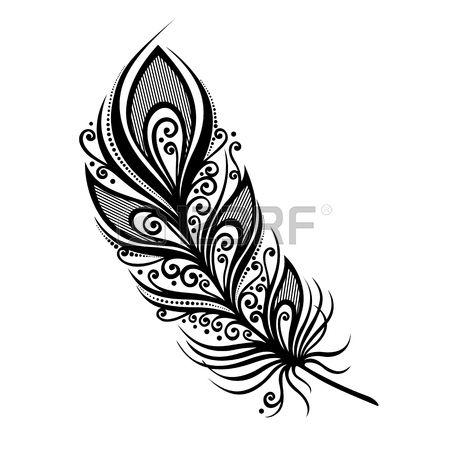 Peerless decorativa Pena vetor design modelado Tatuagem Banco de Imagens