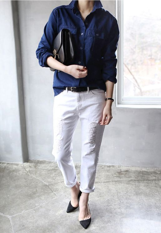 button up shirt, cropped pants and heels #style