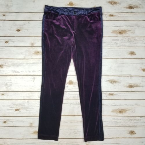 Imani Soho Club pant  Purple-Navy-Velour-Stretch-Slim-Skinny-Leggings-Pants-Womens-Size-8