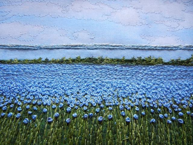 Threadpainting : 'Flax at Jackfish Lake' - Monika Kinner-Whalen