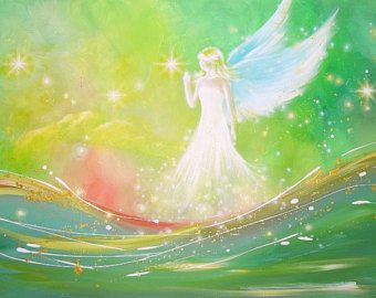 Limited angel art poster angel touch modern by HenriettesART