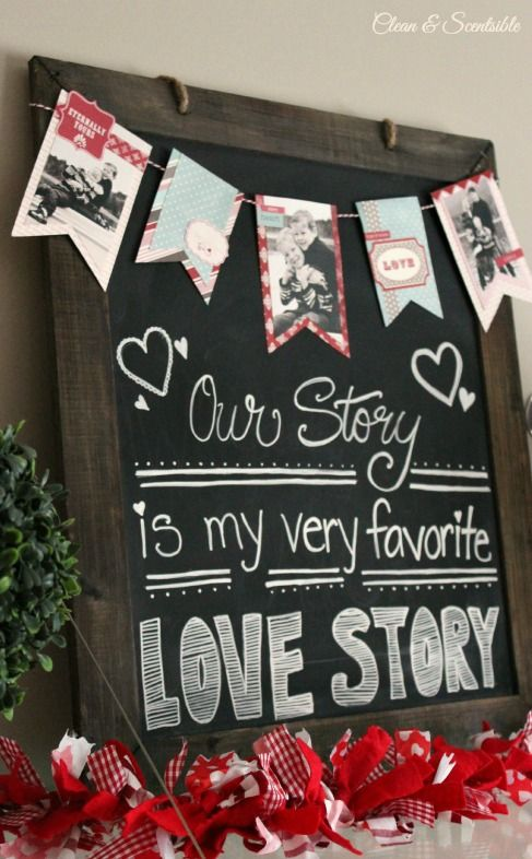 Our Story Is My Favorite Love Story- Then string photos of wedding picture, baby picture, family picture on the top