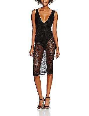 10, Black, New Look Women's Lace Insert Bodycon Dress NEW