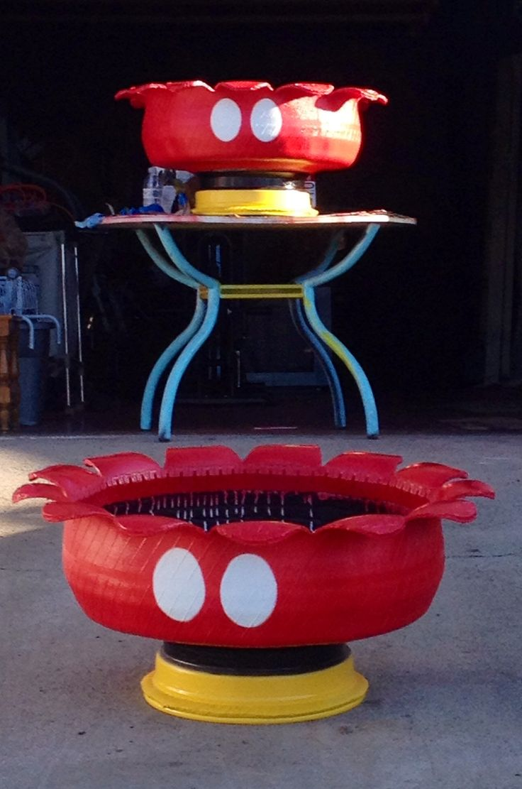 Mickey Mouse tire planters, made by my babe!