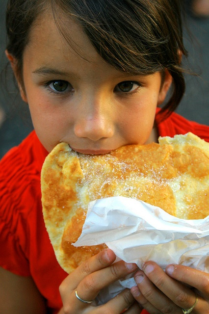A sopaipilla (torta frita in Uruguay) is traditionally made from leavened wheat dough (or a mix of wheat flour and masa harina) to which some shortening or butter is added. After being allowed to rise, the dough is rolled into a sheet that is then cut into circular, square or triangular shapes. The shapes are 8-10 cm in size (if for a dessert) or 15-20 cm (if to be stuffed for a main). The shapes are then deep-fried in oil, causing the shapes to puff up, forming a hollow pocket in the…