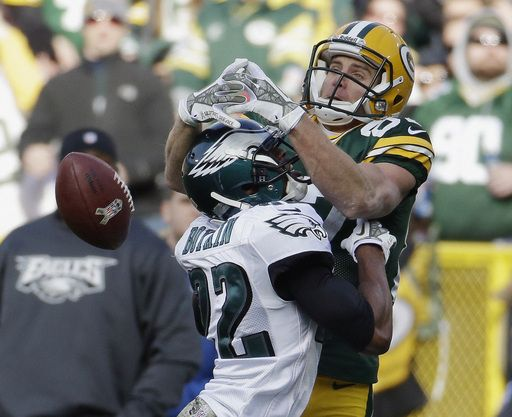 Green Bay Packers' Jordy Nelson goes up for a pass against Philadelphia Eagles' Brandon Boykin during the second half of an NFL football gam...