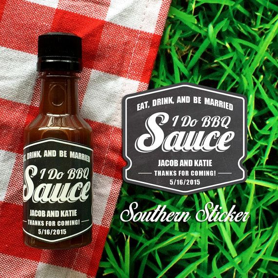 I Do BBQ Custom Barbecue Sauce Favors by SouthernSticker on Etsy