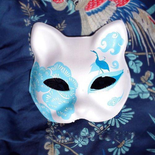 Pintado a Mano media cara japonés Fox Halloween Cosplay Mascarada Máscara Kitsune | Objetos de colección, Culturas y etnias, Asiática | eBay!