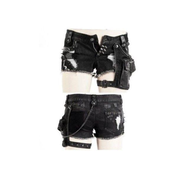 Short Pant Bondage Hotpants Jeans Hose von Punk Rave Gothic Rockabilly (15.645 HUF) ❤ liked on Polyvore featuring shorts, pants, bottoms, mini shorts, hot shorts, mini short shorts, micro shorts and hot short shorts