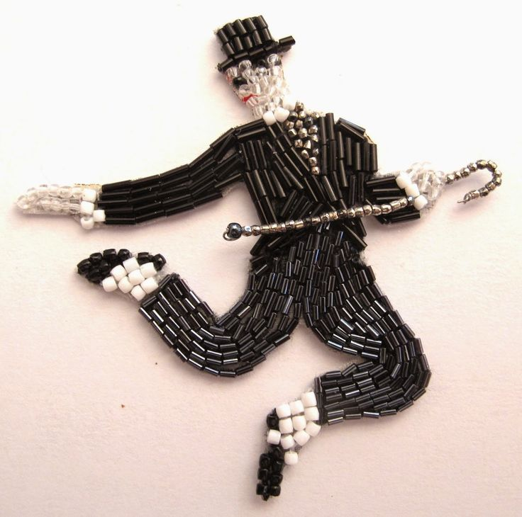 Charlie Chaplin dancing: brooch by French bead-embroidery maker Marianne Batlle.