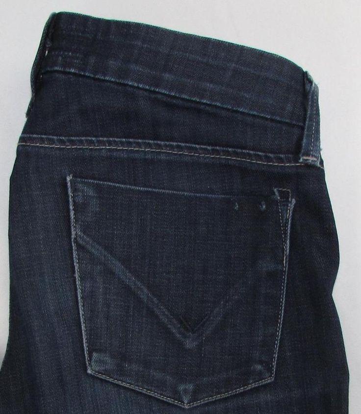 Hudson Skinny Jeans Super Low Rise Dark Wash Stretch Made in USA sz 25 X 32 #HUDSON #Skinny