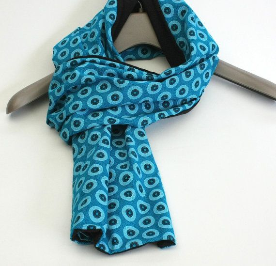 Mens scarf Womens scarf Turquoise Blue and Black by IntleAfrika