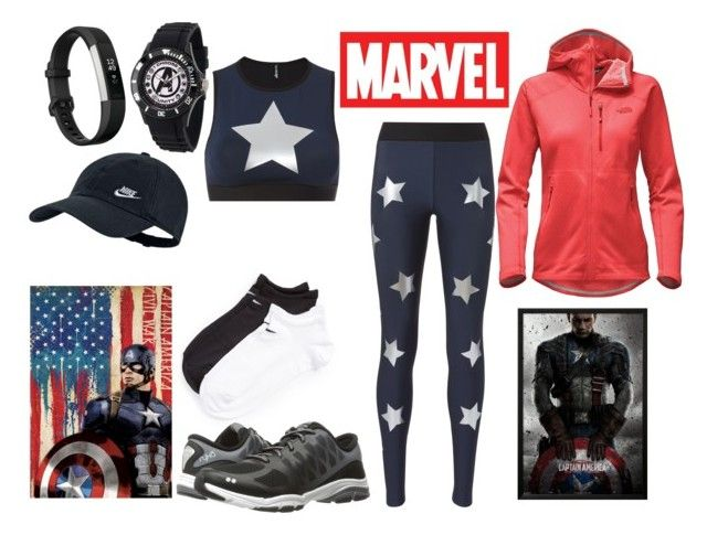 """Star Spangled Run"" by la-fille-acadian on Polyvore featuring NIKE, Ultracor, Rykä, The North Face, Marvel and Fitbit"