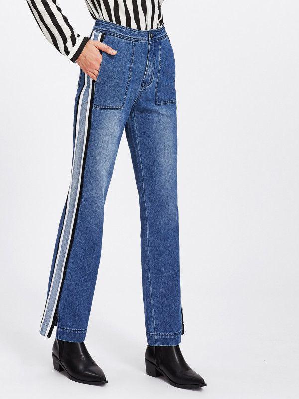 Slit Striped Side Bleach Wash Jeans -SheIn(Sheinside)