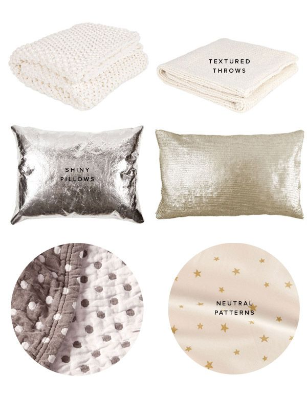 Shiny pillows and subtle star sheets from Zara Home online store