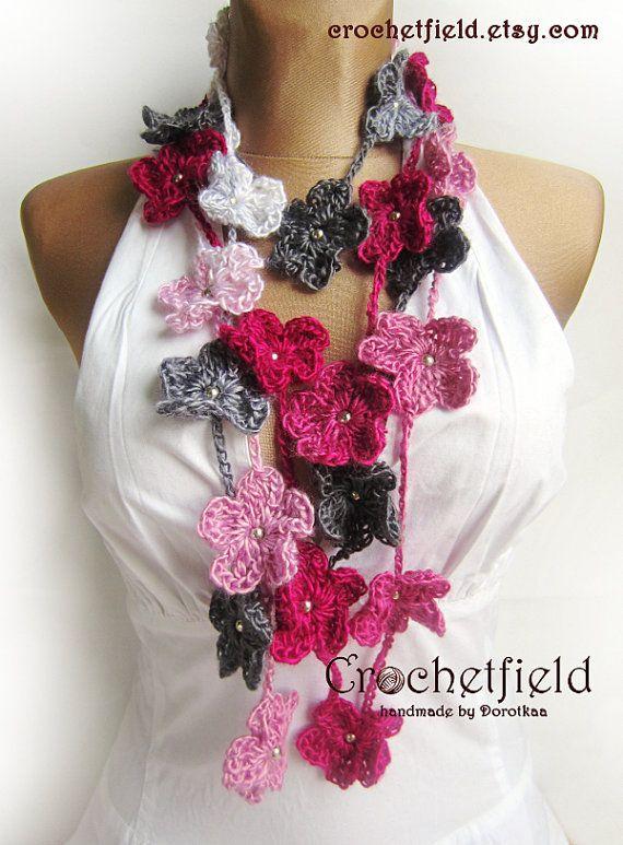 Crochet Flower Multicolored Lariat Scarf Necklace by Crochetfield