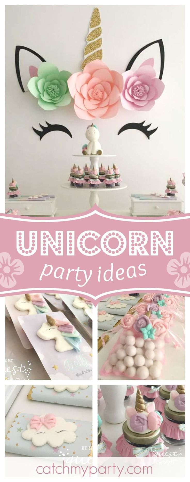 Swoon over this gorgeous unicorn birthday party! The backdrop is so pretty!! See more party ideas and share yours at CatchMyParty.com #catchmyparty #unicornbirthdayparty