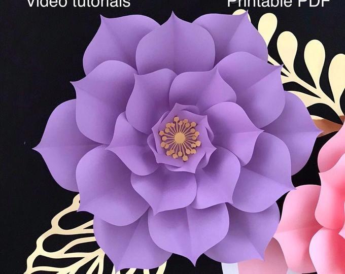 Svg Png Dxf Petal 5 Paper Flowers Template Flat Centers Y Base Etsy Paper Flower Template Flower Template Paper Flowers