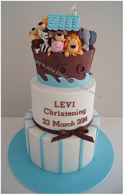 Noah's Ark Boy's Christening Cake, Baby Boy Christening Cakes | by EliteCakeDesigns Sydney