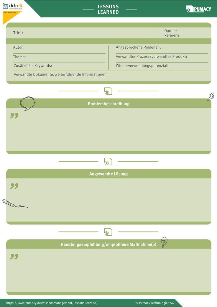 Vorlage/Template für einen Lessons Learned Workshop. Dazu passend die Ampelkarten. Auch praktisch für Best Practices oder Projekt Debriefing.  Alle Infos unter: https://www.pumacy.de/wissensmanagement/lessons-learned/