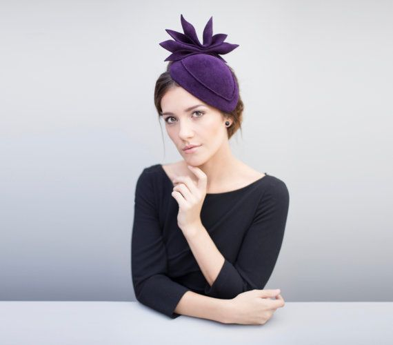 Maris is a luxurious peachbloom felt cocktail hat with an abstract designer leaf detail, a perfect occasion wear hat which can be customised in
