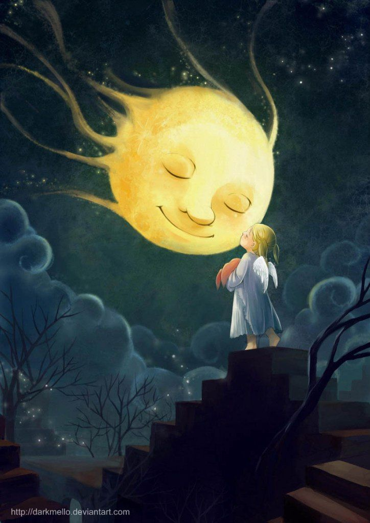 'Good Night Mrs.Moon' by darkmello on Deviantart. Would love to use this moon face.