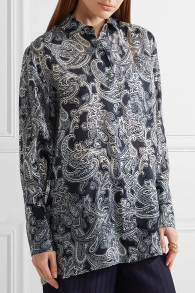 Acne Studios - Bai Printed Chiffon Shirt - Navy - FR36
