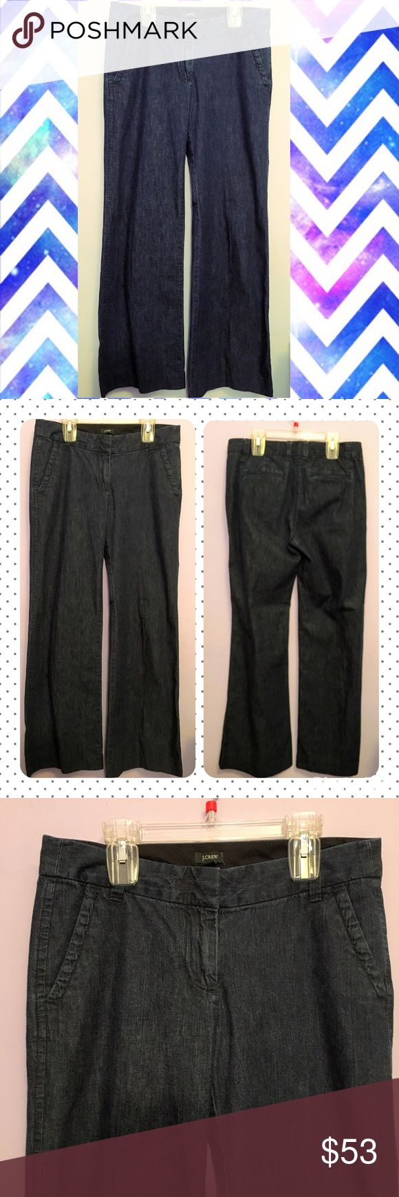 "J. Crew dark denim wide legged trouser jean J. Crew dark denim wide legged trouser.  Inseam is 29.5"".  All prices are negotiable so 💕Make offers💕 🚫No trades🚫 J. Crew Jeans Flare & Wide Leg"