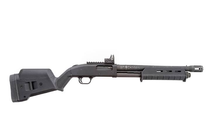 Mossberg 500/590 with Magpul furniture; Stickman