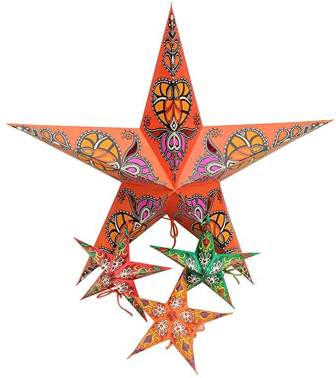 Party Decor Pack Of 4 Crafkart Paper Star Lantern Lampshade
