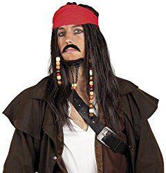 Piratenkostüme, Piraten-Accessoires, Perücke Pirat mit Bandana, Schnurrbart und Kinnbart