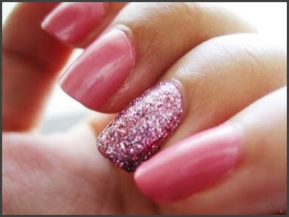 Ring Finger manicure.. Accent the color with a matching toned glitter on the ring finger only. Or, you can do a darker/lighter shade. You can also do a totally different color (like a baby blue here) as long as its in the same family.