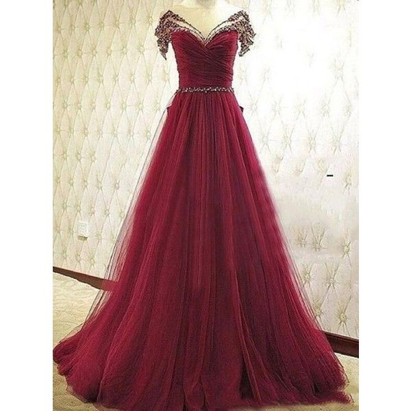 2016 Prom Dresses Long A-Line V-Neck Tulle Burgundy ❤ liked on Polyvore featuring dresses, gowns, long dresses, v neck prom dress, long purple dress, purple prom dresses and prom dresses