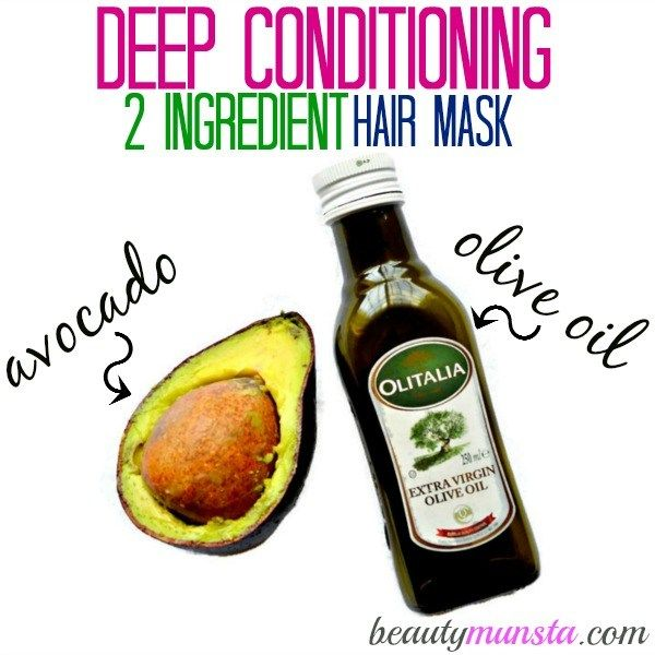 With avocado & olive oil you can whip up a luxurious deep conditioning hair treatment