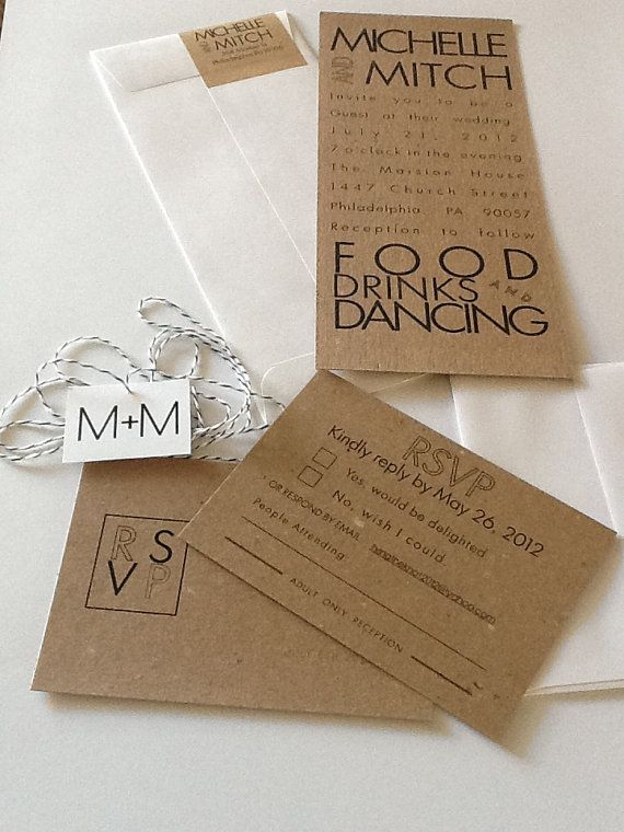 Modern Wedding Invitations With Rsvp Card By 2beudesign On