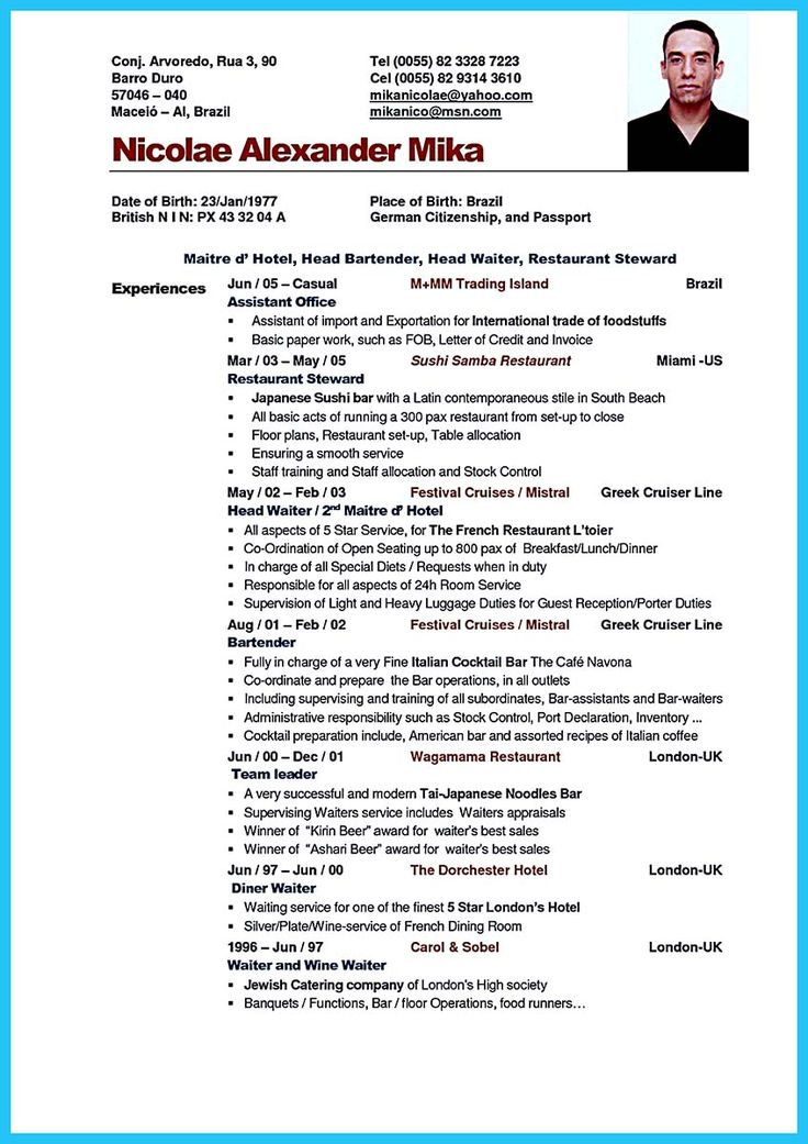 if you think so you should make an impressive bartender resume sample that will make the recruit bartender cv sample uk and bartender