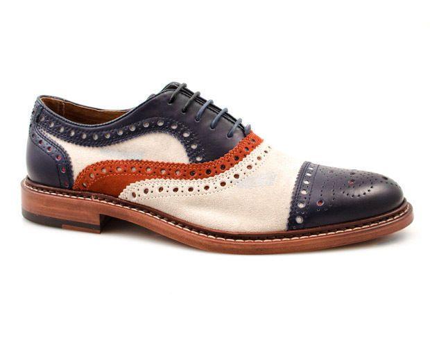 Handmade White Navy Blue Oxford Shoes, Dress Casual Brogue Cap Toe Shoes for Men - Dress/Formal
