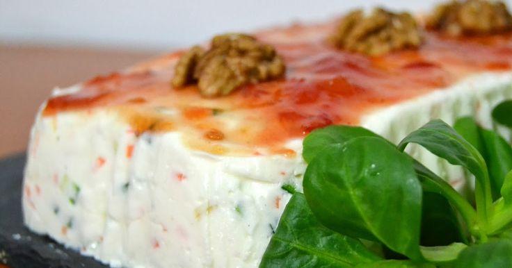 Pastel frío de queso y verduras.  Blog de recetas fáciles paso a paso con vídeo.