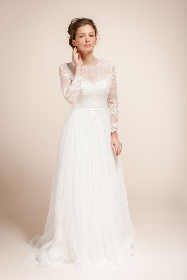 Lace Wedding Dress Bridal With Chantilly Sleeves LIESEL Style A301