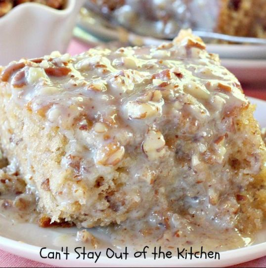 "It's a sensational and remarkably easy Southern dessert of rich, moist and fluffy coconut butter pecan cake topped with a sweet milk butter pecan sauce that will have you saying, ""Ohhh my!"" Full of pecan flavor, buttery and sweet, it's a delicious Southern-inspired dessert that will have you eating (or inhaling) it with no regrets. Not one!"