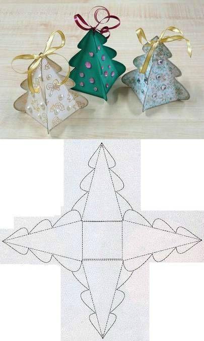 DIY:gabarit de boite en forme d'arbre de noel - patouilleà6mains                                                                                                                                                                                 Plus