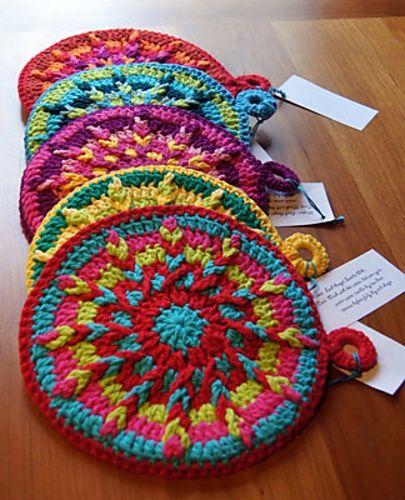 Free Printable Crochet Hot Pad Patterns : kaleidoscope hot pad. Crochet Pinterest
