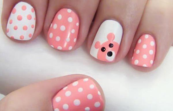 Diseños de uñas con animales e insectos, diseño uñas con animales osito.   #manicuras #3dnailart #uñasbonitas