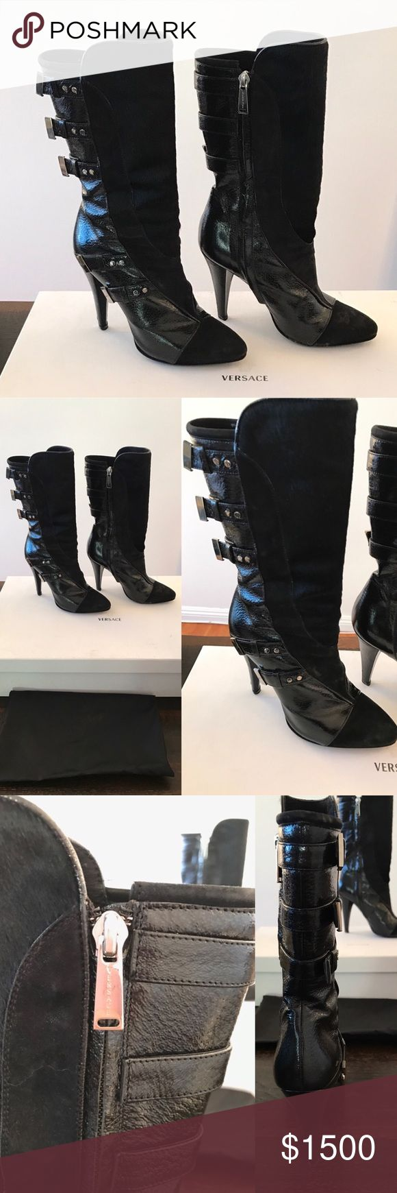 Gianni Versace calf length black suede boots Gianni Versace calf length black and suede boots with metal buckles  Size 5 1/2 Retail Price $2800 Sale Price $1500 Box and bag included Versace Shoes Heeled Boots