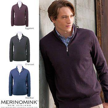 New Zealand Merinomink Mens Merino Wool Half Zip with Check Sweater